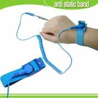 Wholesale 2015 hot blue anti static ESD Wristband Wrist Strap Band Grounding Static Release Discharge Cables For Electrician IC PLCC worker