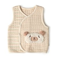 bear certificates - gots certificate baby girls boys thickened triple thermal fabric vest winter warm vest waistcoat animal bear bunny