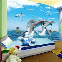 Wholesale New can customized large D mural art wallpaper home decor Personality visual baby kids cartoon bedroom fabric wall stickers dolphins