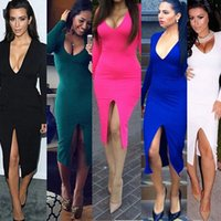 2015 Womens Sexy vestido de algodão Casual Sólidos abertura frontal V profundo Neck Magro Night Club Wear Plus Size Vestuário Cheap China WI1565