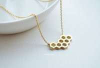 bee hive necklace - 10pcs Gold Silver Cute Honeycomb Beehive Pendant Necklaces Hexagon Honey Comb Bee Hive Necklace for Women