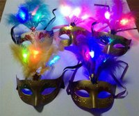 Wholesale 2015 New LED Glowing Party Mask Birthday Halloween Princess Feather Mask PVC Masquerade Venetian Masks Girls halloween mask halloween props