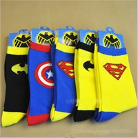 batman socks - DDA1088 Design Cartoon Superhero Socks Batman Captain America Superman socks Adult socks cartoon mens socks Cartoon sports socks