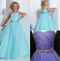 Cheap 2015 Spaghetti Pageant Dresses for Girls Beading Crystal Sash Blue Kids Prom Dress Formal Ball Gown Little Girl Pageant Interview Outfits