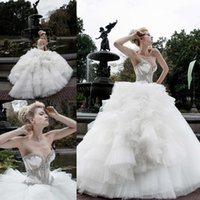 pnina tornai wedding dresses - 2015 Pnina Tornai Wedding Dresses Ball Gown Sweetheart See Through Bodice with Crystals Beading Lace up Back Vintage Royal Style Bridal Gown