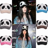 Wholesale 2015 Cute Casual Women Plush Cartoon Panda Snapback Hats Winter Warm Caps Outdoor Travel Sports Hats Mix Colors Choose ENE
