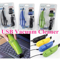 Wholesale USB Vacuum cleaner High quality Mini Computer with Small brush flexible rubber for PC Laptop Computer keyboards with retail box