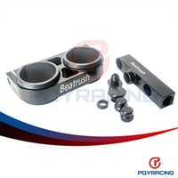 Wholesale PQY STORE Twin Fuel Pump Bracket Billet Aluminium Assembly OUTLET Manifold In Black for fuel pump PQY LD2641