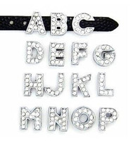 Wholesale 8MM Full Rhinestone Slide Letters quot K T Can Choose Each Letter quot For DIY Phone Strips Bracelet