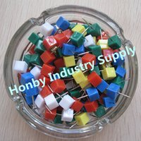 Wholesale Assorted Colored Opaque Cube Shaped Decorative Thumb Tacks push pin per pack