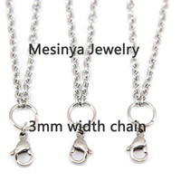 Gift Stainless Steel Glass women's 316L stainless steel lobster 3mm width 0.8 wire 30'' rolo chain necklace for floating glass locket xmas mother valentine 25pcs lot
