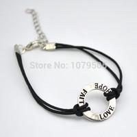 affirmation bracelet - a Black Wax String Leather Love Faith Hope Affirmation Charm Bracelets