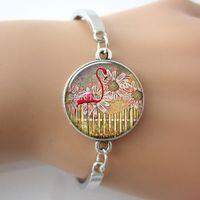 flamingo - Top Quality Trendy unisex bracelet flamingo sunflower bracelet Art Picture charm Bracelet Silver women bracelet Free ship G041