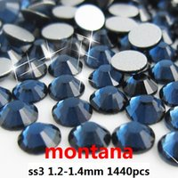 flat back gems - High shine non hot fix rhinestones ss3 mm montana color flat back glue on rhinestone gems