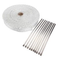 Wholesale White ft inch wide Fiberglass Exhaust Pipe Header Wrap tape kit w SS Ties mx2 cm