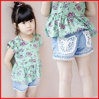 Wholesale hot sale Girls Summer Lace Denim Shorts Children Denim Lace Blue Pants kids Cotton shorts baby denim pants Children Shorts free ship