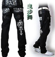 ad painting - Black baggy style jeans hip hop casual pants loose hip hop jeans for man and boy ad denim trousers plus size