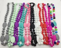 angels babies - Newest silicone teething Necklace with oval beads for Mommy baby chew necklace
