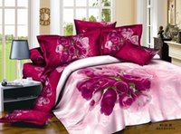 Cheap Free Shipping 3D Oil Painting Bedding Sets Full Queen 4PCS Pure Cotton Reactive Printed 3D Hot Pink Rose Bedding Set