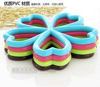 Wholesale Creative skid anti hot plum shaped table PVC table mat modern kitchens design bowl cup disc pads diameter cm