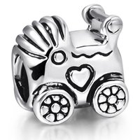baby pandora bracelet - 925 Sterling Silver Baby Carriage European Charms Heart Beads For Pandora Snake Chains Bracelets Necklace Charm