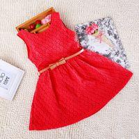 festival clothing - 2015 Children clothing lace dress hollow out children summer skirt belt girls dress festival gifts