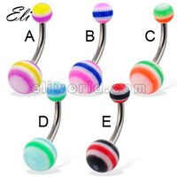 body piercing jewelry wholesale - pieces Belly Navel Button Bar Ring UV Acrylic Stripe Ball Body Piercing Jewelry