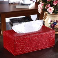 Wholesale Home decoration Tissue Box Cover napkin holder Napkin Paper Holder Case Crocodile style Home PU Leather high quality