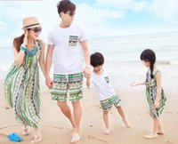 Wholesale Family clothing fashion bohemian bars wavy green tropical cotton dress suit boys and girls children s clothing Family fitted full decoration