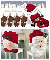 Wholesale HOT Sell Christmas Chair Cover Santa Decorations Santa Couples Xmas Dinner Decor Chair Covers