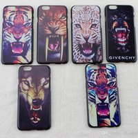 animal cell drawing - Case For Apple Iphone plus PVC animal colored drawing tiger head cell phone cases phone protection OPP bag