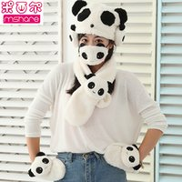 Wholesale New lovely panda scarf hat gloves mask ear muffs sets double fluffy thickening warm sets