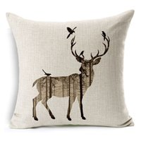 antler pillow - Simple Cotton Linen Square Throw Flax Pillow Case Decorative pillowcase Deer Antlers Elephant Head Rhinoceros quot X18 quot