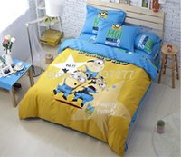 animation nurses - Happy Family Minions animation cotton bedding set bedclothes with reversible duvet cover flat sheet pc bed sets Despicable Me