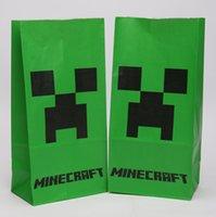 Wholesale Minecraft Creeper Snacks Bag Minecraft Paper Of cm Green Minecraft popcorn Bag DHL Fedex Free