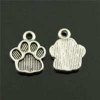 Wholesale 400pcs mm vintage antique silver plated zinc alloy Dog paw charms