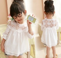 collar t-shirt - Girls Clothes Girl T shirt Long Sleeve Kids T shirts Lace Floral Hollow Collar White Shirts Spring Children Clothing Korean Style I2679