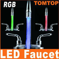 Wholesale ABS Glow LED faucet tap Temperature Sensor LED faucet light adapter no need power