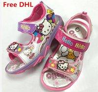 beach shoes children - Free DHL Cute Baby Kids Cartoon Kitty Shoes Children Cat Sandals Kids Velcro Casual Shoes Girls Non Slip Beach Shoes Princesses Shoes