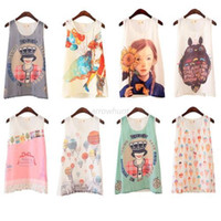 Wholesale Women Printed Chiffon Vest T Shirt Sleeveless Blouse Shirt Style M L XL