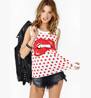 Wholesale 2015 summer new casual white vest woman s lips pattern round neck t shirt Lycra fabric dots