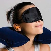 air travelers - Hot sale Travel Flight Pillow for woman man Neck U Rest Air Cushion Eye Mask Earbuds a gift for travelers as neck pillow