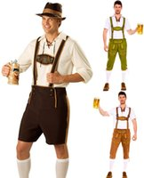 Wholesale 2015 New Oktoberfest Costume Men Lederhosen for Bavarian Octoberfest Festival Party Clothes Halloween Costumes