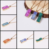 Wholesale 6 Colors Styles New Arrival Geode Big Square Druzy Pendant Necklace Crystal Natural Stone Necklaces Quartz Gem Statement Jewelry
