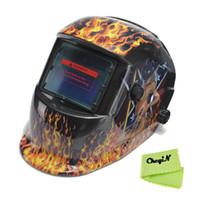 Wholesale Flame Solar Battery Auto Darkening Welding Helmet Tig Mag ARC Grinding Soldering Welding Mask Hat Welders Goggle DH002 order lt no tra