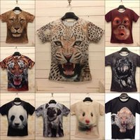 Cheap 2014 new men women 3d novelty print animals tiger lion leopard dog cat wolf naked body funny T-shirts short sleeve tees tshirt