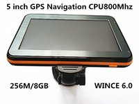 Wholesale 5 inch Touch Screen Car GPS Navigation HD800 CPU800M M GB FM Transmitter Multi languages Free latest Maps