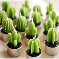 Wholesale The cactus creative candles Lovely fleshy potted plant scented candles Romantic home furnishing articles craft candles