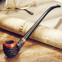 Cheap Wholesale-Handmade black briar smoking pipe tobacco filter smoking set