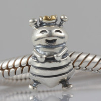 bee charms sterling silver - Authentic Sterling Silver Queen Bee with Gold Plated Crown Bead Fits European Pandora Charm Bracelets